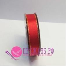 Атласная лента с люрексом, 15 мм, цвет красный