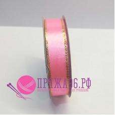 Атласная лента с люрексом, 15 мм, цвет розовый
