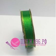 Атласная лента с люрексом, 15 мм, цвет зеленый