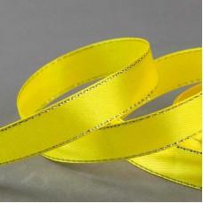 Атласная лента с люрексом, 15 мм, цвет желтый