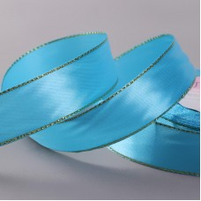 Атласная лента с люрексом, 25 мм, №020 голубой