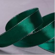 Атласная лента с люрексом, 25 мм, №049 темно-зеленый