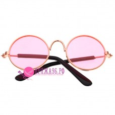Очки для кукол, цвет розовый в желтой оправе, 8 см