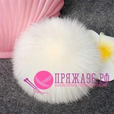 Помпон меховой искусственный, 12 см, цвет белый