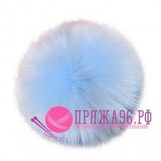 Помпон меховой искусственный, 10 см, цвет голубой