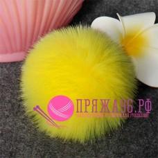 Помпон меховой искусственный, 10 см, цвет ярко-желтый