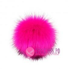 Помпон меховой искусственный, 13 см, цвет ярко-розовый