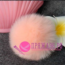Помпон меховой искусственный, 10 см, цвет нежный персиковый