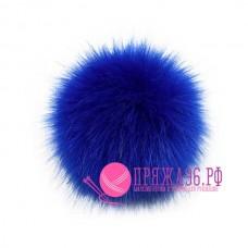 Помпон меховой искусственный, 13 см, цвет синий