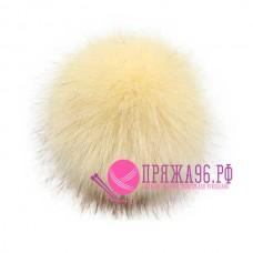 Помпон меховой искусственный, 10 см, цвет сливочный