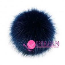 Помпон меховой искусственный, 10 см, цвет темно-синий