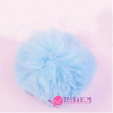 Помпон меховой искусственный, 10 см, цвет нежно-голубой