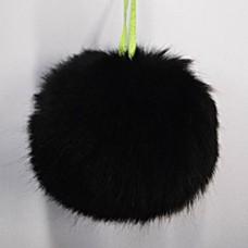 Помпон меховой искусственный, 12 см, цвет черный