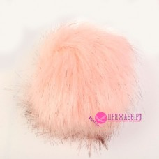 Помпон меховой искусственный, 13 см, цвет розовый с черными кончиками