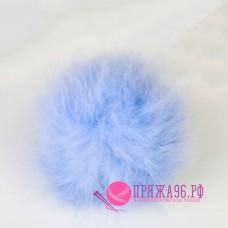 Помпон меховой искусственный, 13 см, цвет голубой
