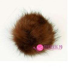 Помпон меховой искусственный, 13 см, цвет светло-коричневый с рыжинкой