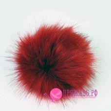 Помпон меховой искусственный, 13 см, цвет темно-красный