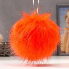 Помпон меховой искусственный, 14 см, цвет оранжевый
