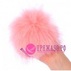 Помпон меховой искусственный, 14 см, цвет нежно-розовый