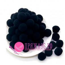 Помпоны 2 см, цвет черный