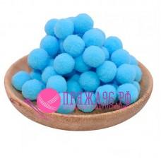 Помпоны 2 см, цвет голубой