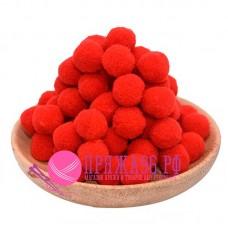 Помпоны 2 см, цвет красный